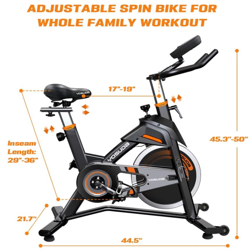 YOSUDA Indoor Cycling Bike Stationary Exercise Bike for Home Gym with Comfortable Seat Cushion Silent Belt Drive iPad Holder